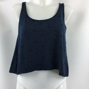 Marc By Marc Jacobs Blue Beaded Crop Top Size XS